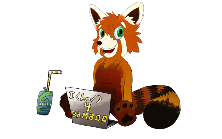 A happy red panda enjoying caffeinated beverages while coding.